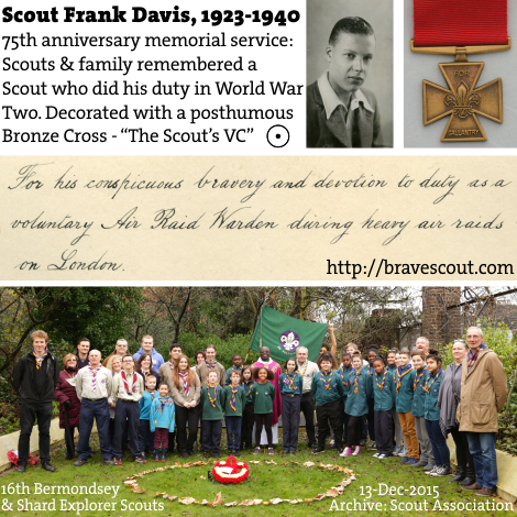 16th Bermondsey and Shard Explorer Scout Unit at the Frank Davis 75th Anniversary Memorial Service